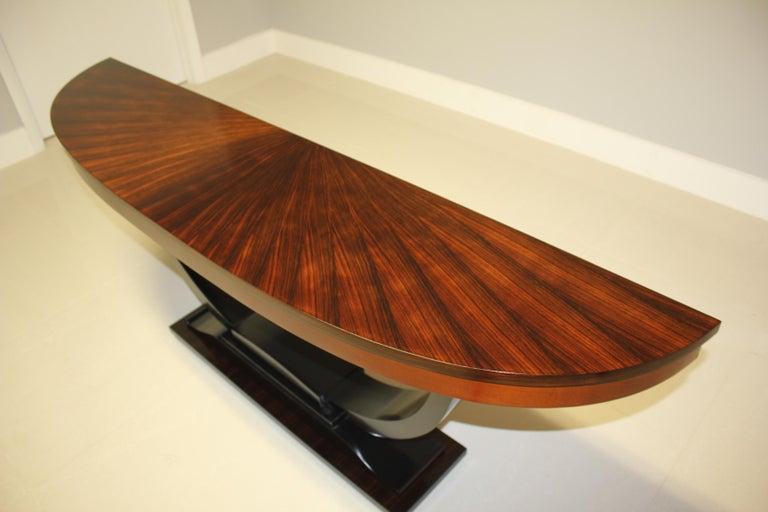 Mid-20th Century French Art Deco Exotic Macassar Ebony 'Sunburst' Console Tables, circa 1940s For Sale