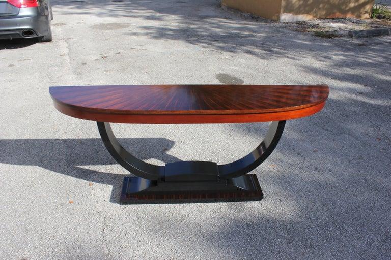 French Art Deco Exotic Macassar Ebony 'Sunburst' Console Tables, circa 1940s For Sale 3