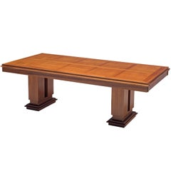 French Art Deco Extendable Dining Table in Mahogany