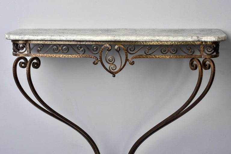 French Art Deco for Forge Wall-Mounted Console For Sale 5