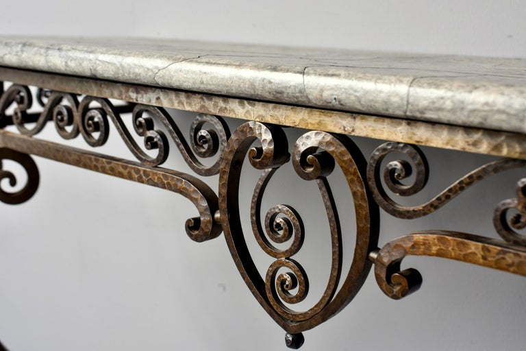 Mid-20th Century French Art Deco for Forge Wall-Mounted Console For Sale