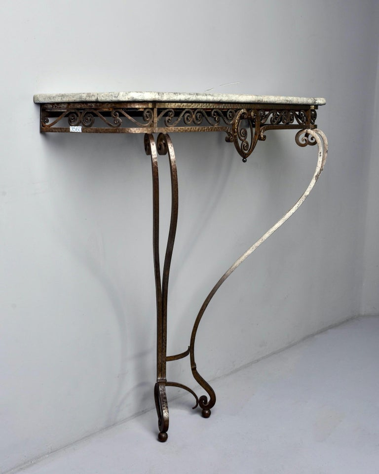 French Art Deco for Forge Wall-Mounted Console For Sale 1