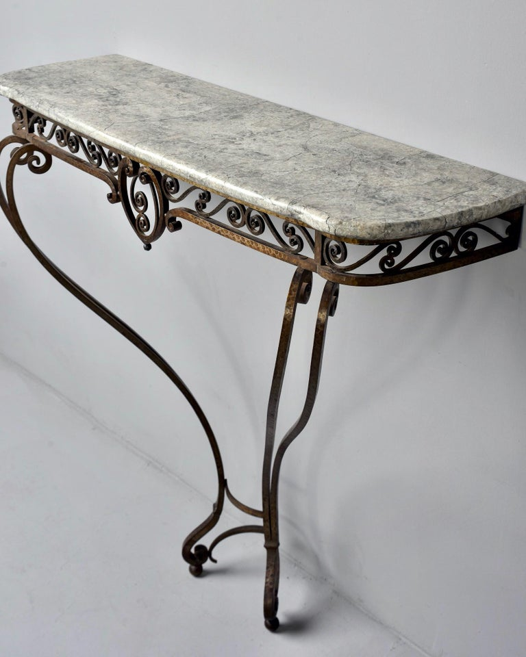 French Art Deco for Forge Wall-Mounted Console For Sale 3