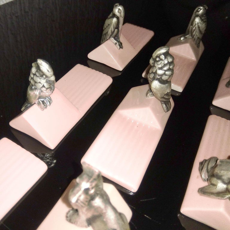 French Art Deco Figural Animal Knife Rests For Sale 6
