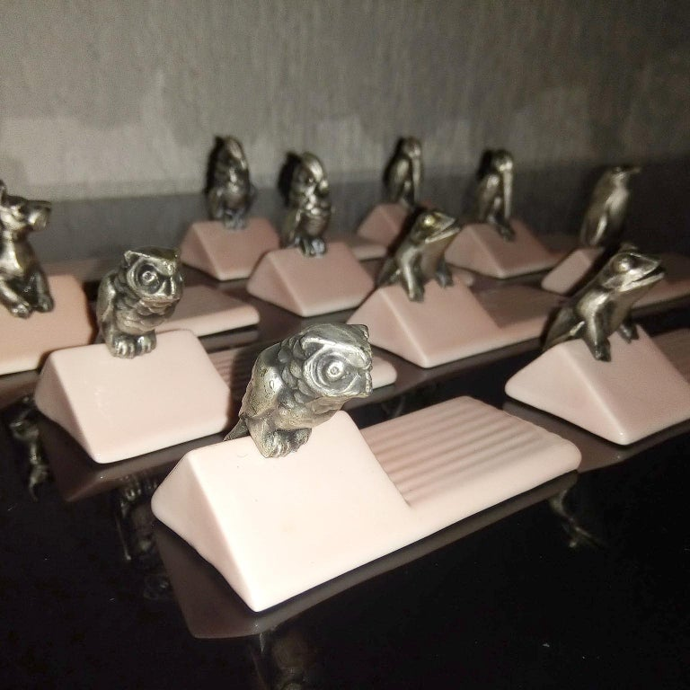 French Art Deco Figural Animal Knife Rests For Sale 8