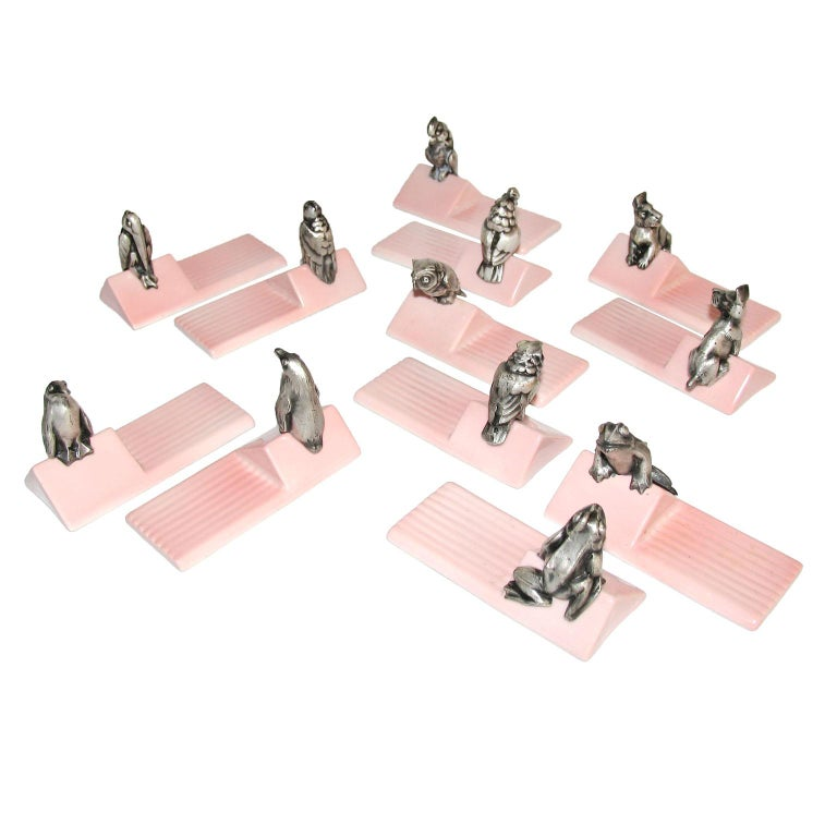 French Art Deco Figural Animal Knife Rests For Sale