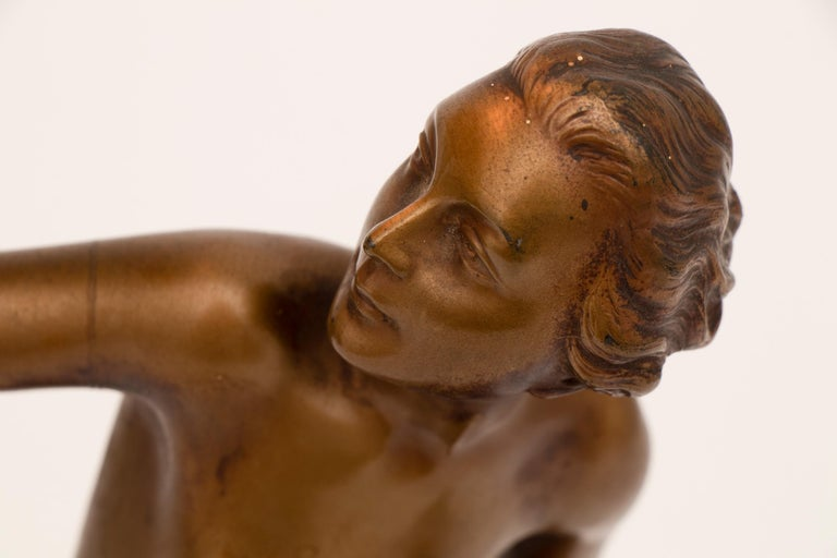 French Art Deco Figure Lamp by Josef Lorenzl In Good Condition For Sale In London, GB