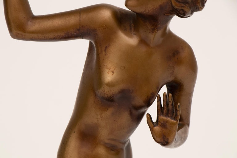 Spelter French Art Deco Figure Lamp by Josef Lorenzl For Sale