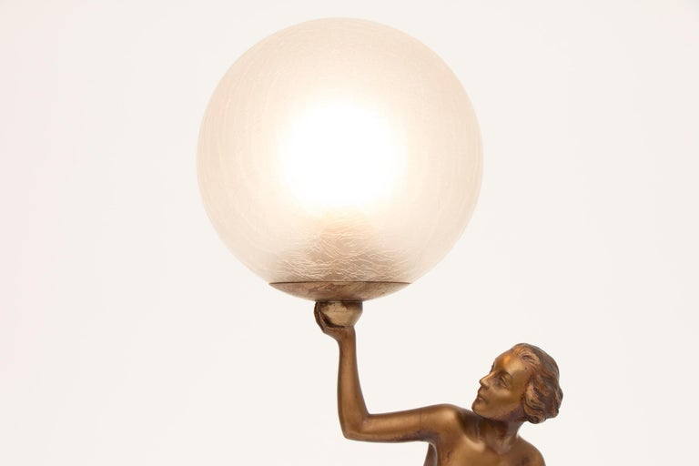 French Art Deco Figure Lamp by Josef Lorenzl For Sale 2