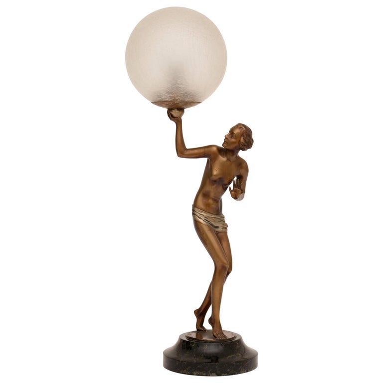 French Art Deco Figure Lamp by Josef Lorenzl For Sale