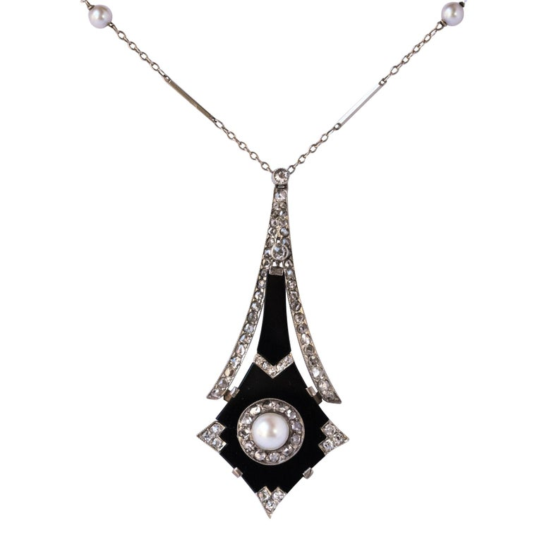 French Art Deco Fine Pearl Onyx Diamond Platinum Pendant For Sale