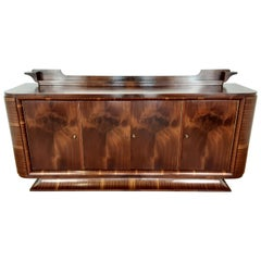 French Art Deco Flame Mahogany Sideboard with Winged Back Shelf and Curved Base