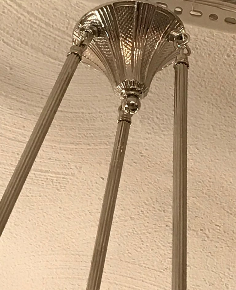 French Art Deco Floral Chandelier For Sale 4