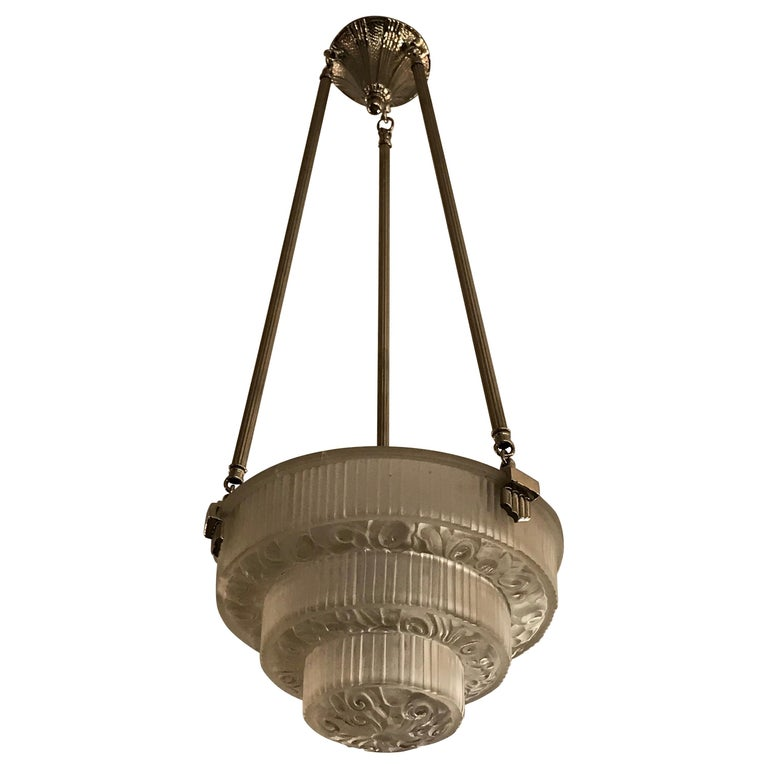French Art Deco Floral Chandelier For Sale