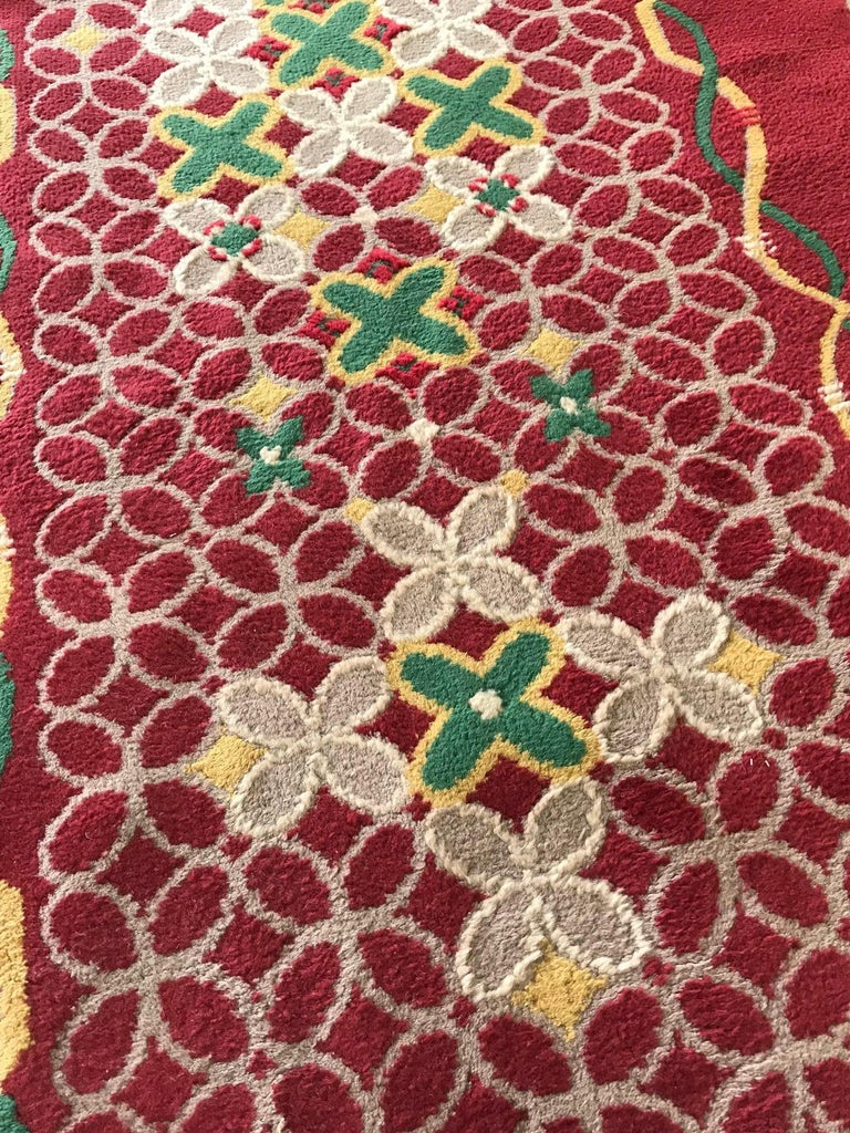 French Art Deco floral, red, yellow, taupe and green handmade wool runner Size: 4'2