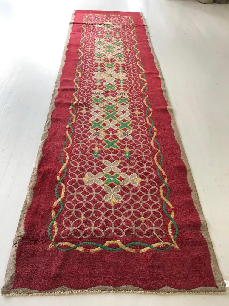 Hand-Knotted French Art Deco Floral Red, Yellow, Taupe, Green Handmade Wool Runner For Sale