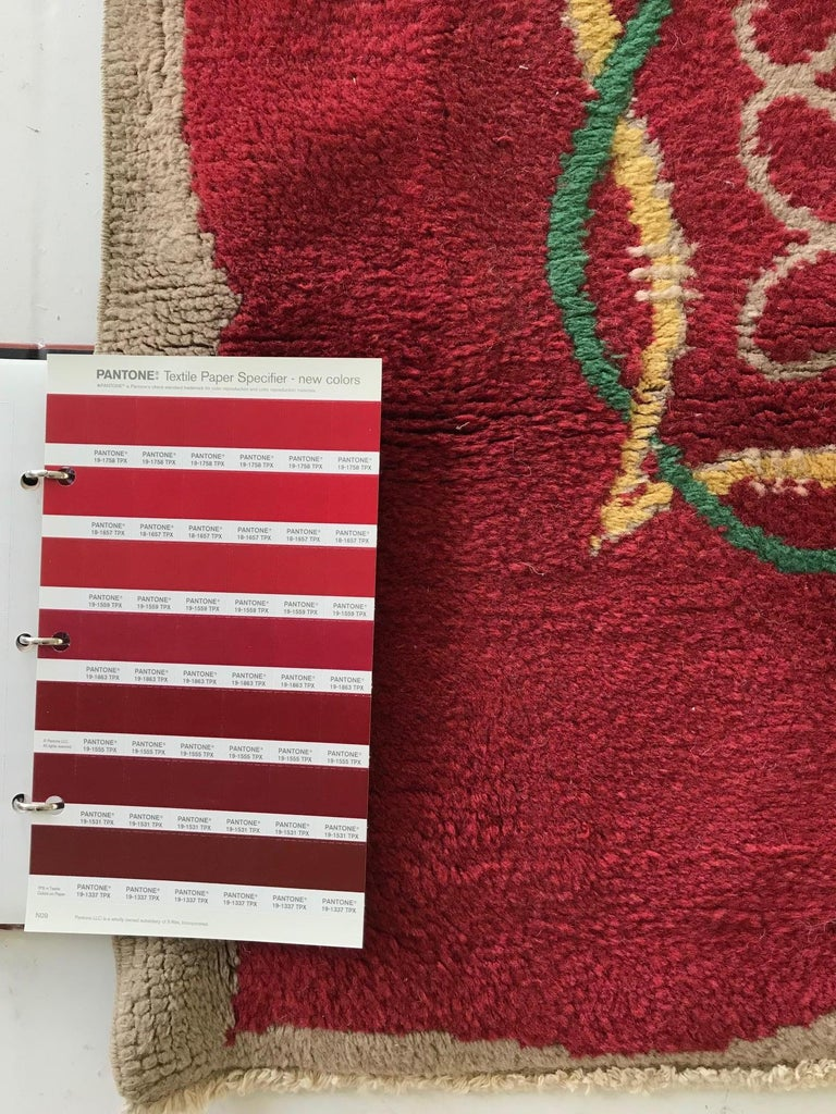 French Art Deco Floral Red, Yellow, Taupe, Green Handmade Wool Runner For Sale 2