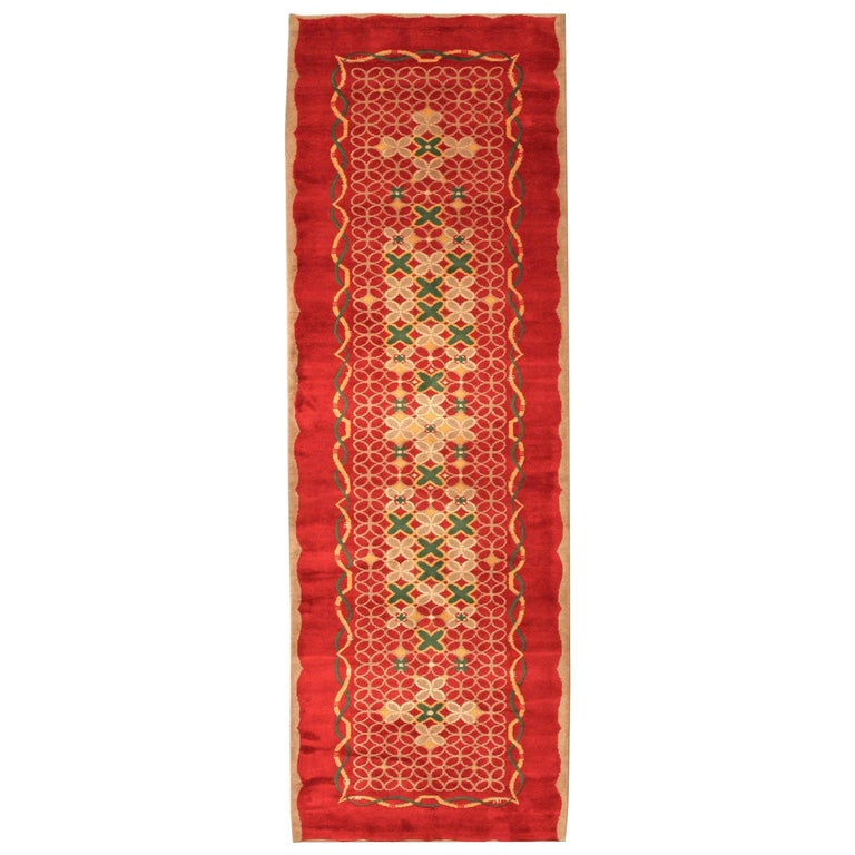 French Art Deco Floral Red, Yellow, Taupe, Green Handmade Wool Runner For Sale