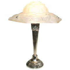 "French Art Deco Floral Table Lamp Signed ""Degue"""