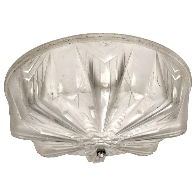 French Art Deco Flush Mount by Muller Freres For Sale