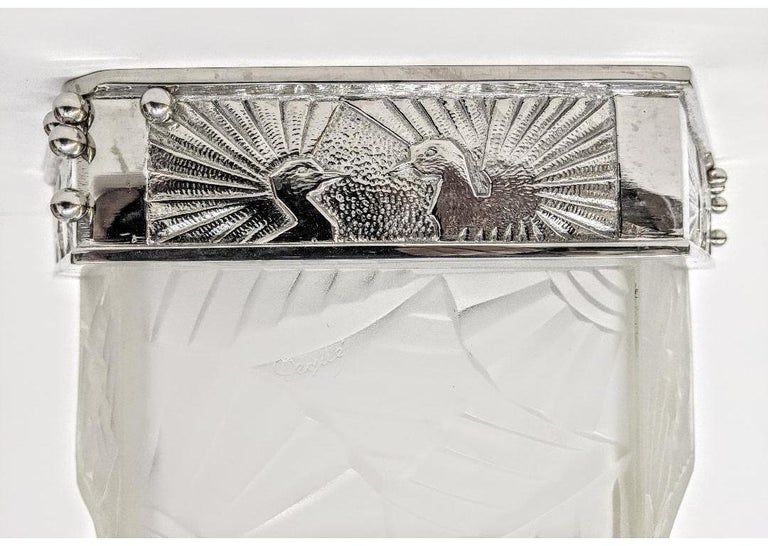 French Art Deco Flush Mount Signed by Degue For Sale 6