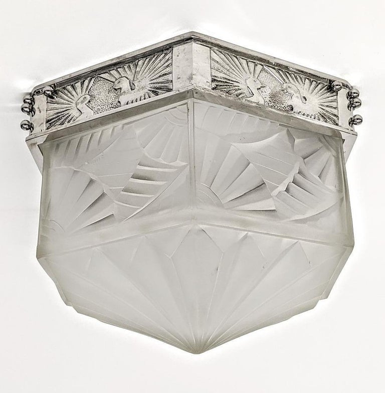 A rare French Art Deco hexagonal flush mount by the French artist