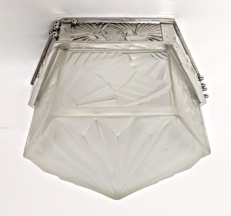Cast French Art Deco Flush Mount Signed by Degue For Sale