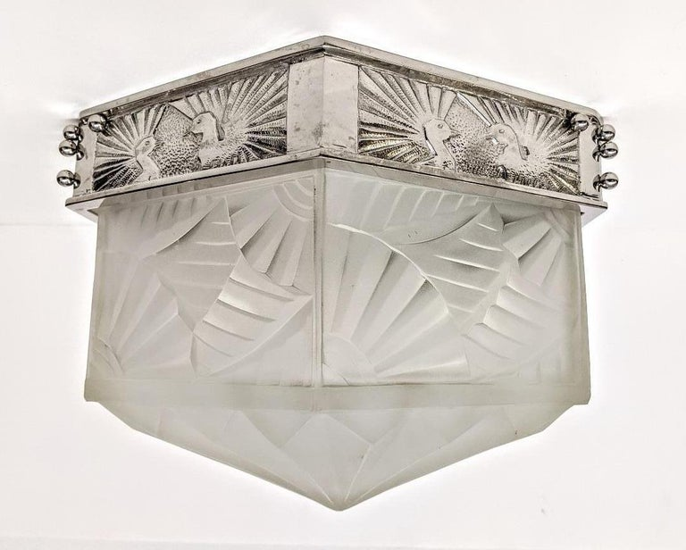 French Art Deco Flush Mount Signed by Degue In Good Condition For Sale In Bronx, NY