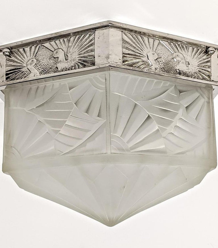 20th Century French Art Deco Flush Mount Signed by Degue For Sale