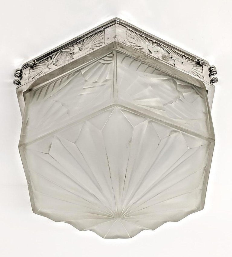 French Art Deco Flush Mount Signed by Degue For Sale 1