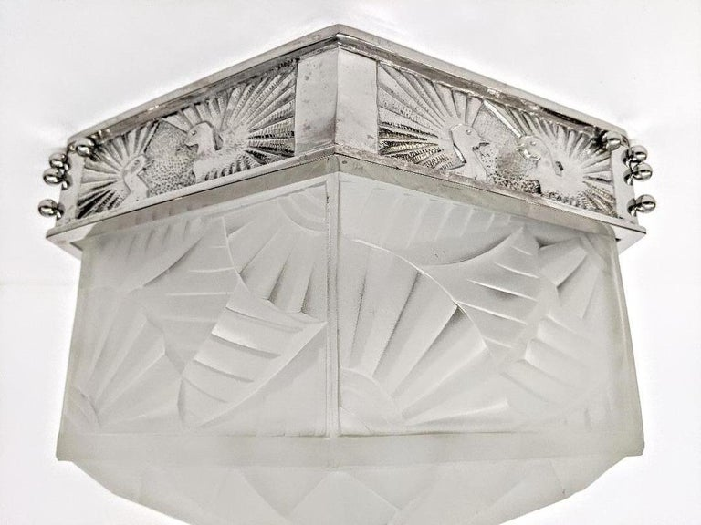 French Art Deco Flush Mount Signed by Degue For Sale 2