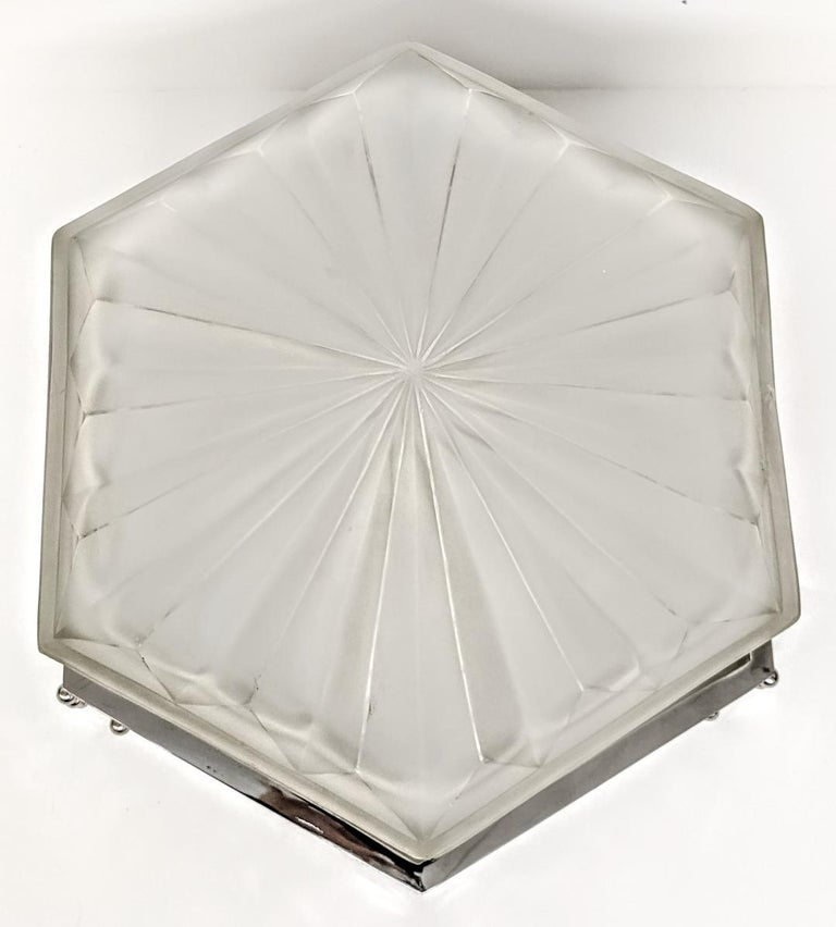French Art Deco Flush Mount Signed by Degue For Sale 3
