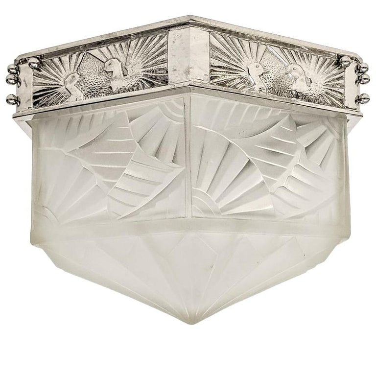 French Art Deco Flush Mount Signed by Degue For Sale