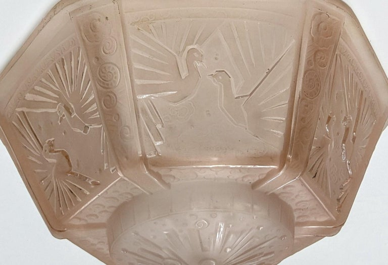 Pressed French Art Deco Flush Mount Signed by Muller Freres For Sale