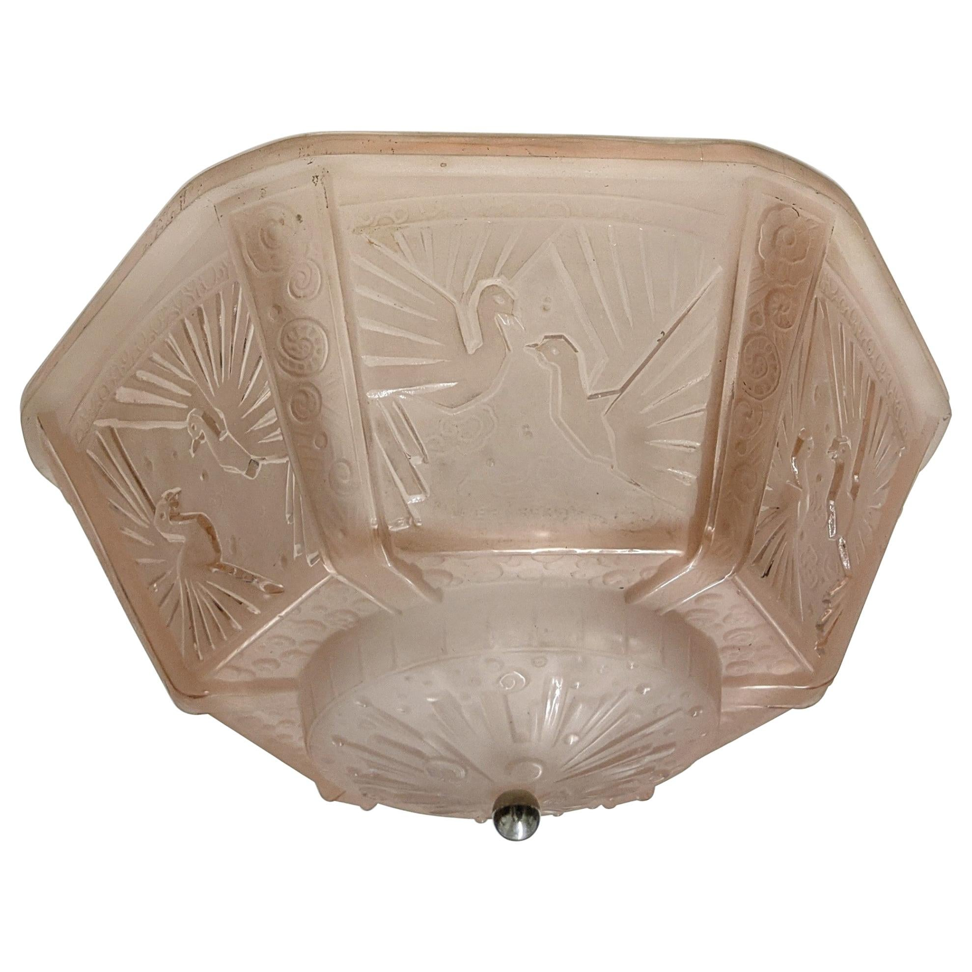 French Art Deco Flush Mount Signed by Muller Freres