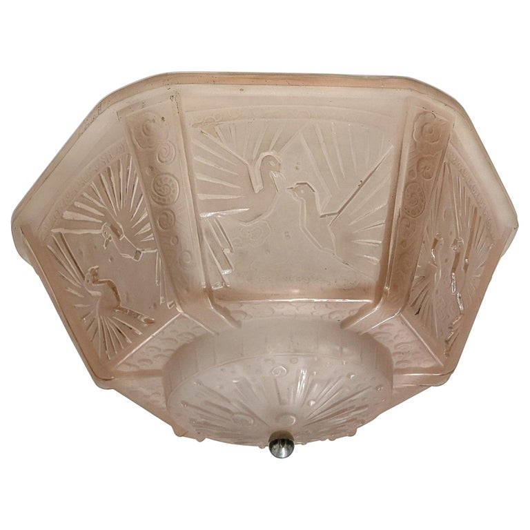 French Art Deco Flush Mount Signed by Muller Freres For Sale