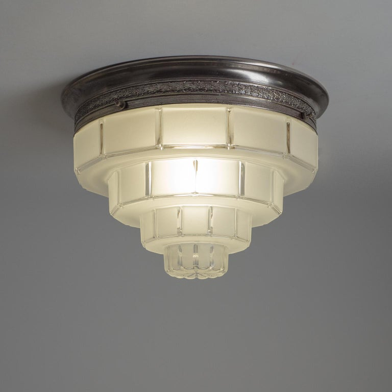 Frosted French Art Deco Flush Mounts, circa 1930 For Sale