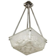 French Art Deco Flush Pendant Chandelier by Sabino