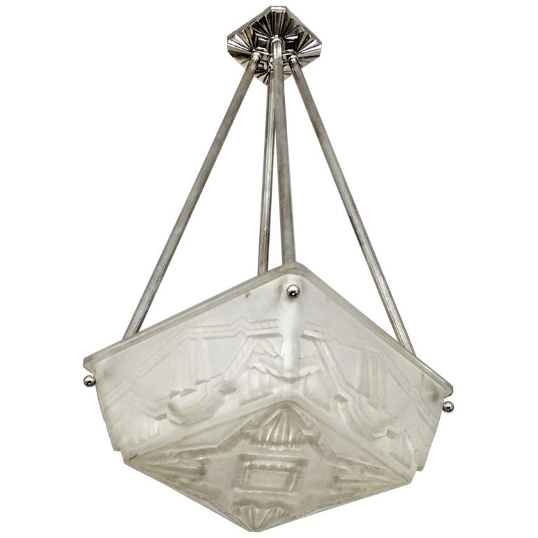 French Art Deco Flush Pendant Chandelier by Sabino For Sale