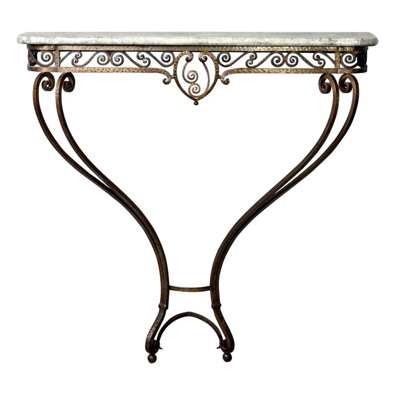 French Art Deco for Forge Wall-Mounted Console For Sale