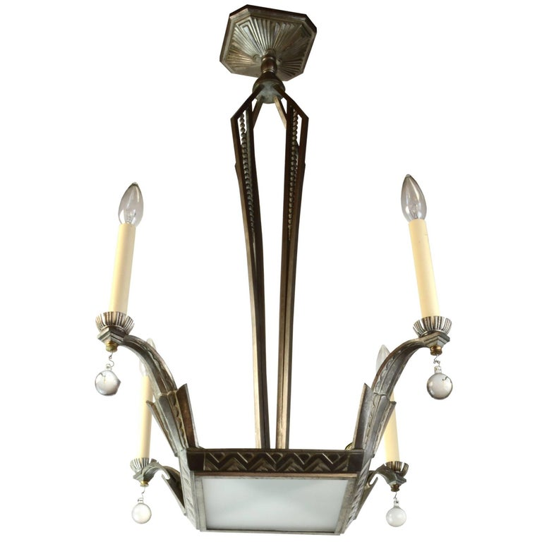 French Art Deco Four-Candle Chandelier