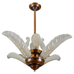 French Art Deco Four-Light Copper and Frosted Glass Chandelier by Ezan, 1930s