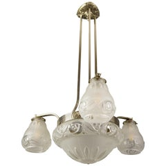 French Art Deco Four-Light Frosted Glass and Brass Chandelier with Floral Design