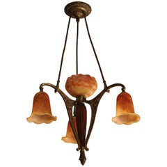 French Art Deco Four Lights Daum Chandelier