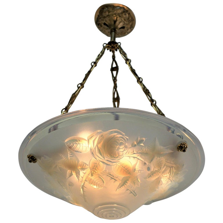 French Art Deco Frosted Art Glass Chandelier by P.  Maynadier For Sale
