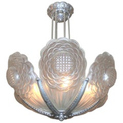 French Art Deco Frosted Art Glass Sunflower Chandelier Signed Boyreau Bordeaux