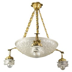 French Art Deco Frosted Glass and Bronze Four-Light Pendant Chandelier, 1930s
