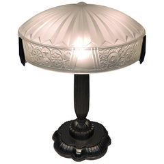 French Art Deco Frosted Glass and Nickel Table Lamp