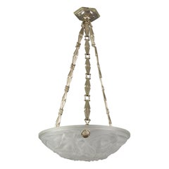 David Gueron French Art Deco Frosted Glass Pendant Chandelier, 1930s