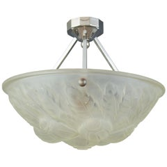French Art Deco Frosted Glass Pendant Chandelier by Verrerie des Vosges, 1930s